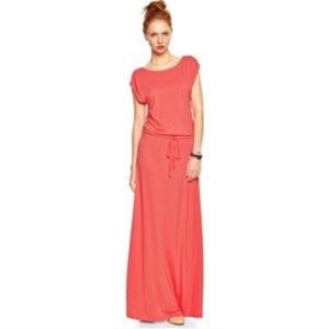 Gap Maxi Cowl Neck Drapey Dress, Coral, Size Small